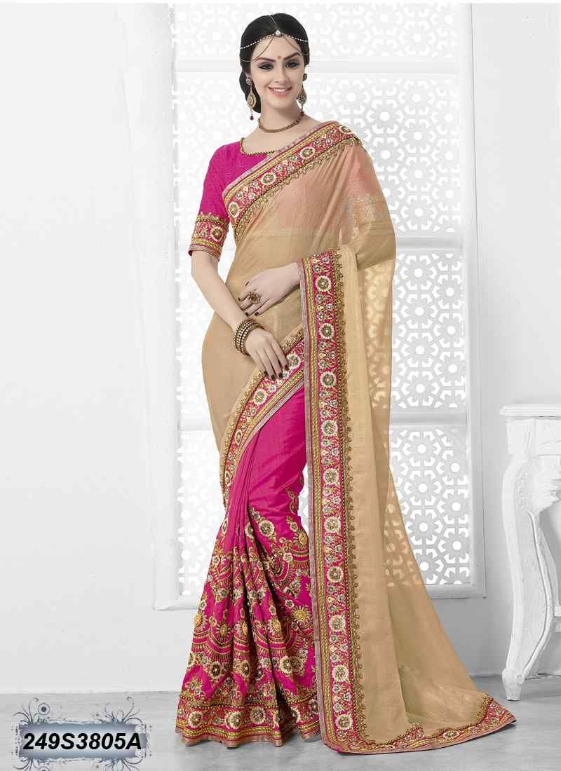 a90b955653 Ravishing Pink Coloured Dhupian Silk Embroidered Saree | Saree ...