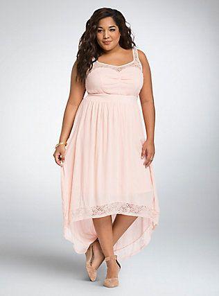 5edacfd80d4c0 Lace Gauze Hi-Lo Maxi Dress, PALE BLUSH   Warm Weather Curvy   Blush ...