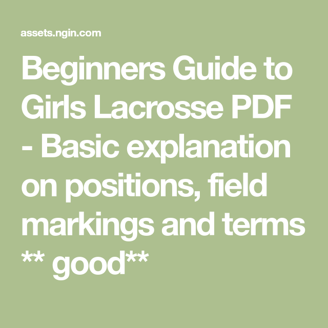 Beginners Guide To Girls Lacrosse Pdf Basic Explanation