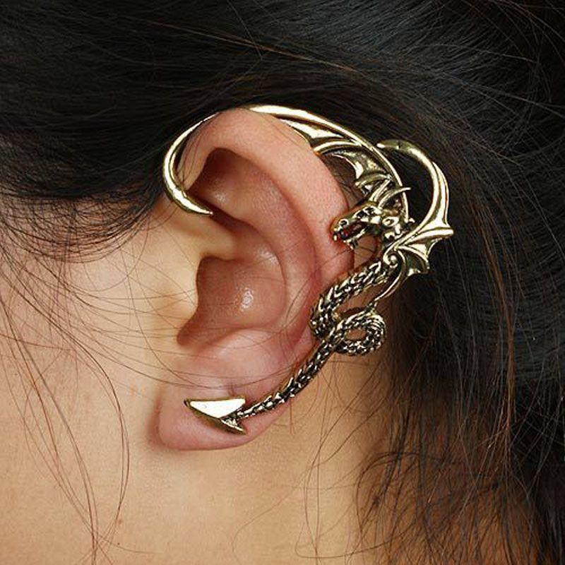 Dragon Ear Clip Ear Cuff Handmade Gothic Dragon Ear Wrap 925 Sterling Solid Silver Dragon Pet Ear Stud Ear Cuff Animal Ear Cuff Earring