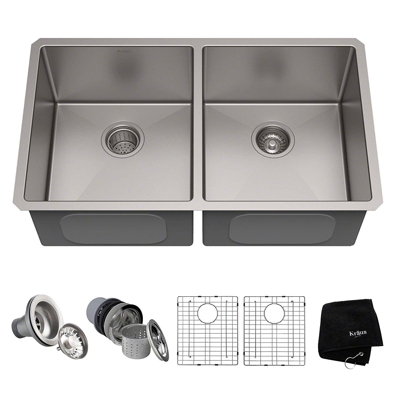 kraus standart pro 33 inch 16 gauge undermount 50 50 double bowl rh pinterest com