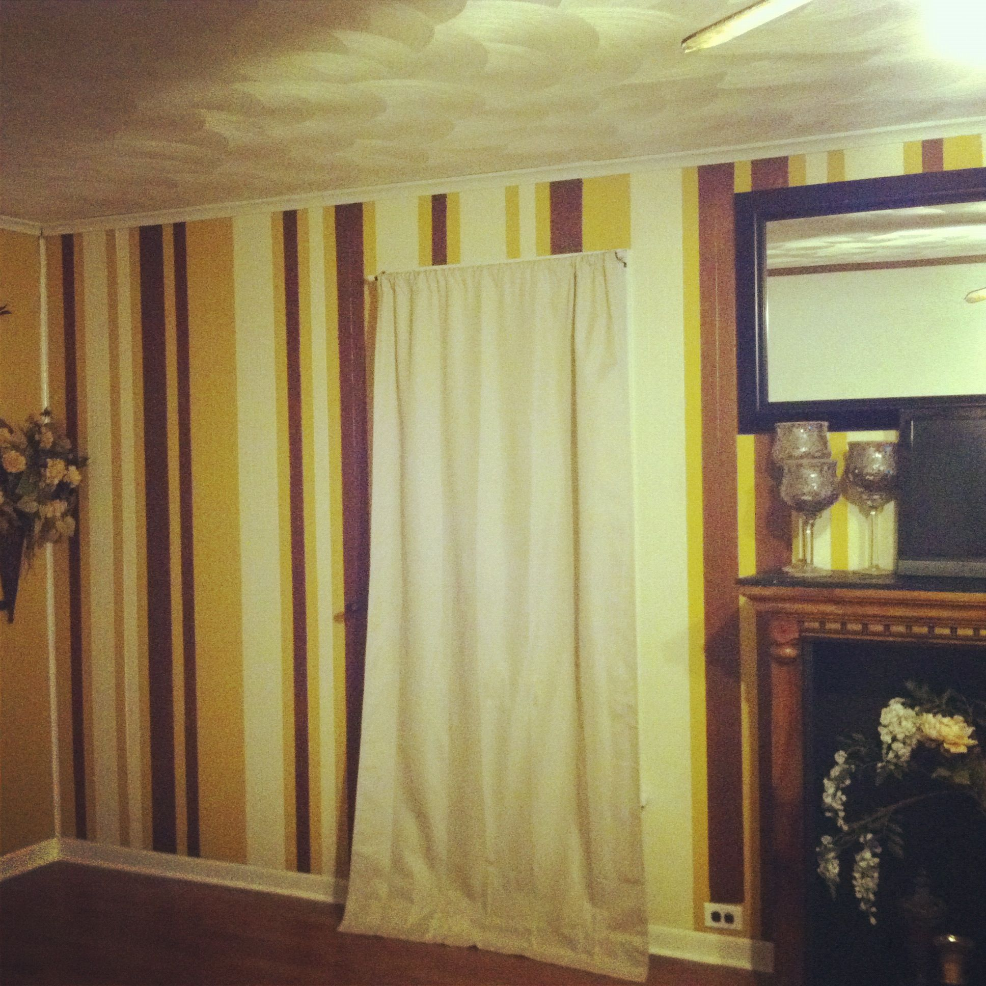 Pinstripe walls in barcode pattern to disguise ugly paneling | Home ...