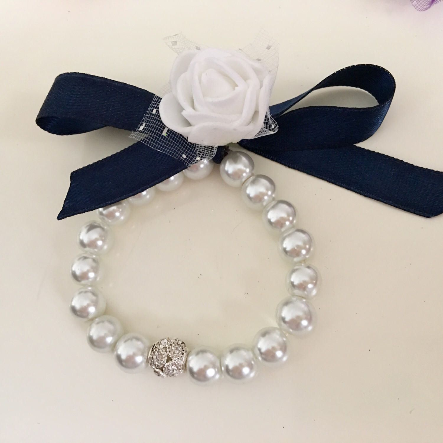 Stretch pearl ribbon bracelet bow pearl bracelet flower girl