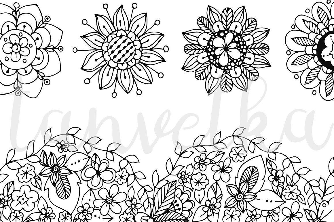 Doodle Art Floral Ornament Doodle Art Floral Art Flower Doodles