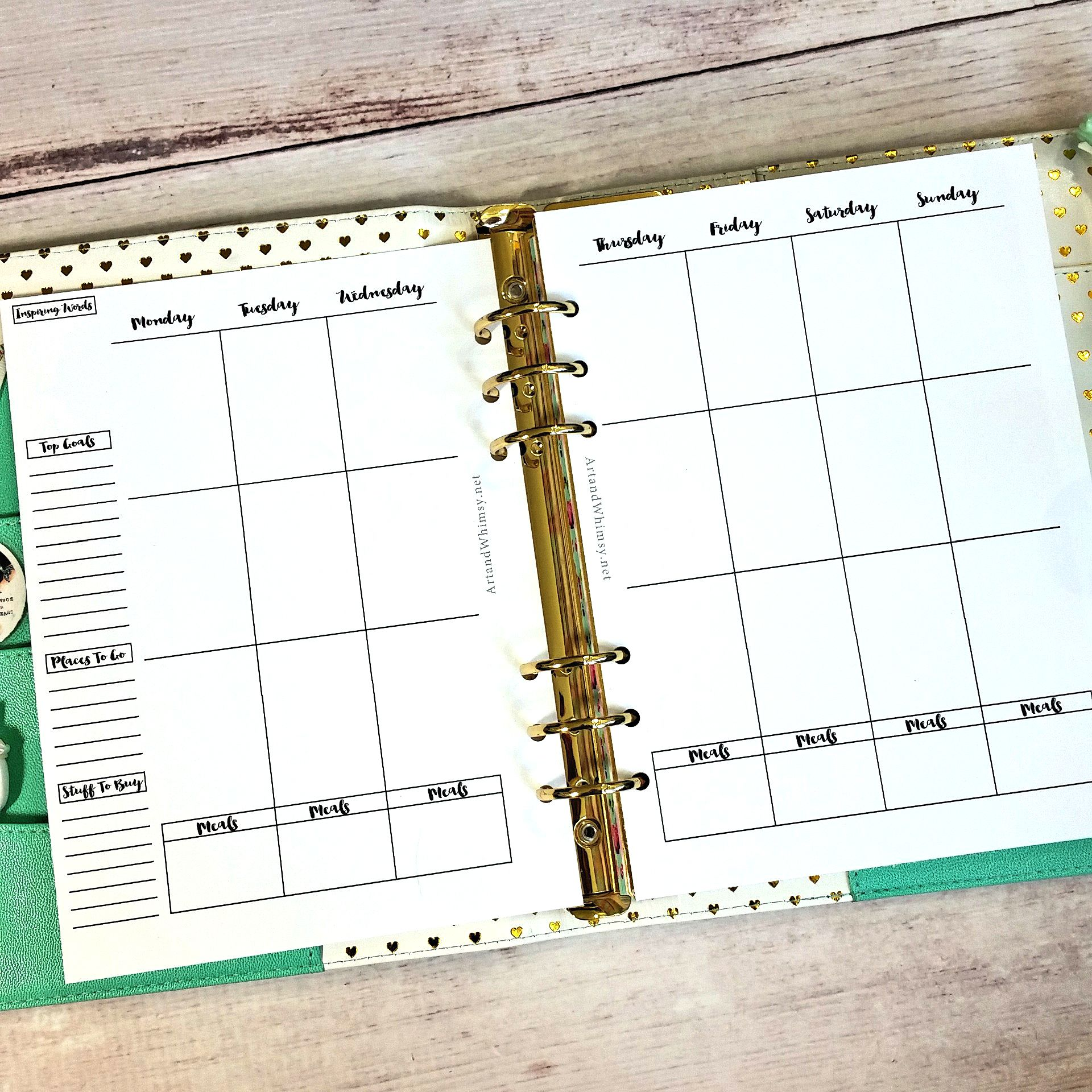 Free planner printables including vertical weekly double pages ...