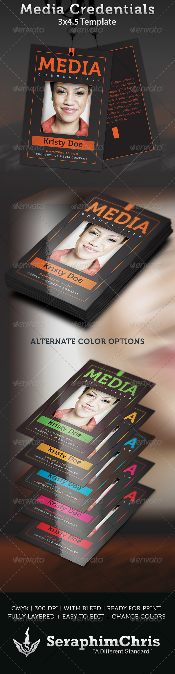 Media Credentials Template | Template, Print templates and Yearbooks