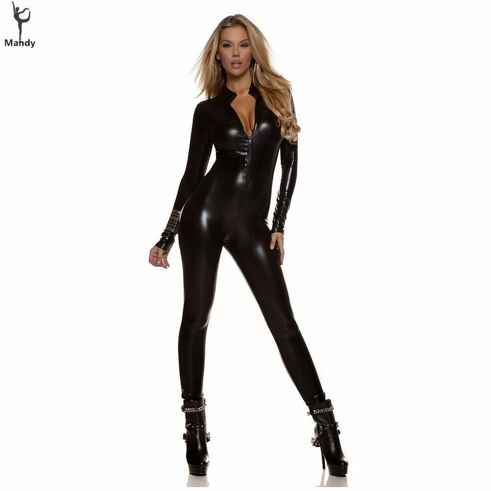b1fcbeb295e0 Adult Spandex Sexy Wet Look Womens Turtleneck Metallic Black Zentai Catsuit  Zip Front Unitards Clubwear Stripper Costume XXXL