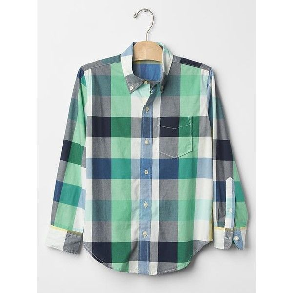 Plaid button-down shirt ($35) via Polyvore featuring tops, plaid shirt, button down shirt, button up shirts, button up tops and shirt top