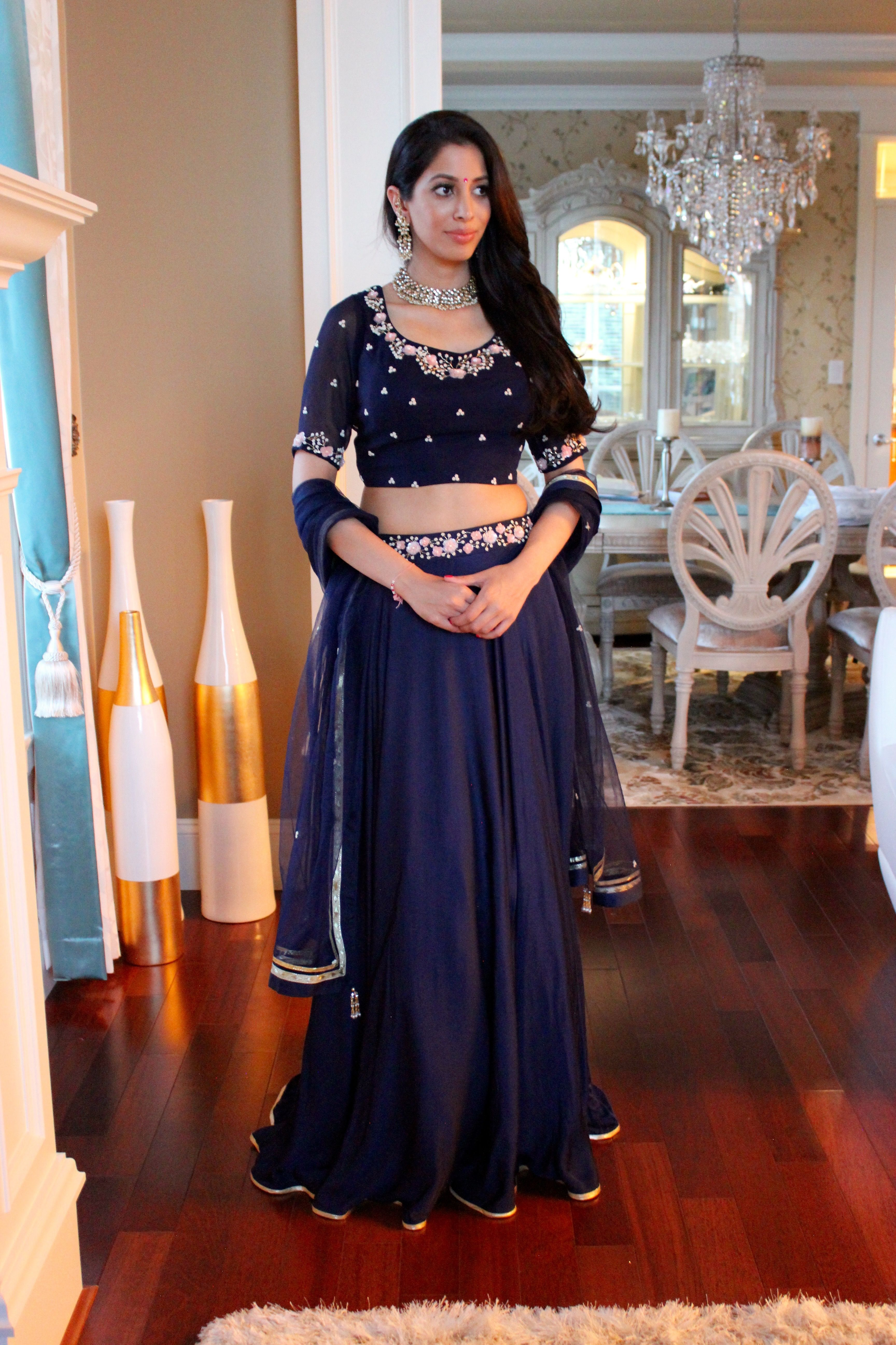 Beautiful blue satin silk lengha classy and timeless perfect for
