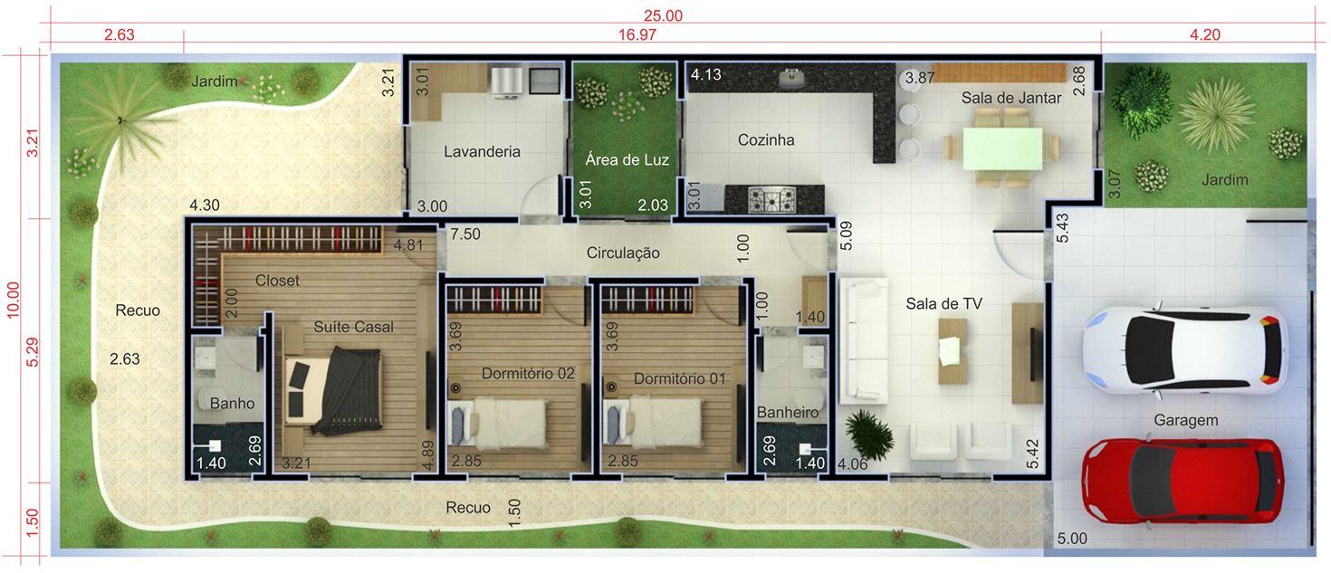 Planta de casa t rrea com 3 quartos planta para terreno for Casa moderna 7x15