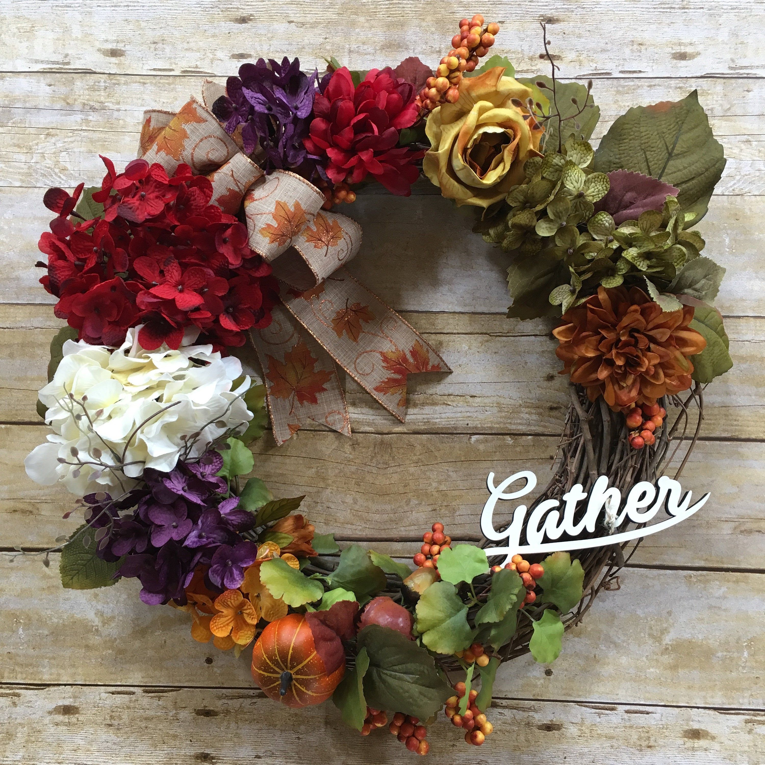 Photo of Fall wreath, fall wine wreath, year round wreath, front door wreath, fall decor, thanksgiving decor, gift for her, collect characters