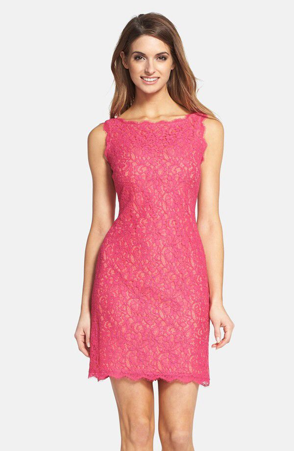 Adrianna Papell Adrianna Papell Boatneck Lace Sheath Dress (Regular ...