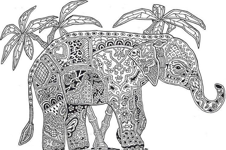 Ausmalbilder Erwachsene Elefant Palmen Schwierige Malvorlage