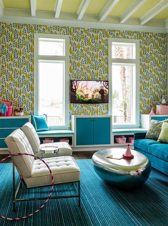 Turquoise Playroom | Andrew Howard Interior Design | TV Rooms | Pinterest |  Einrichtung