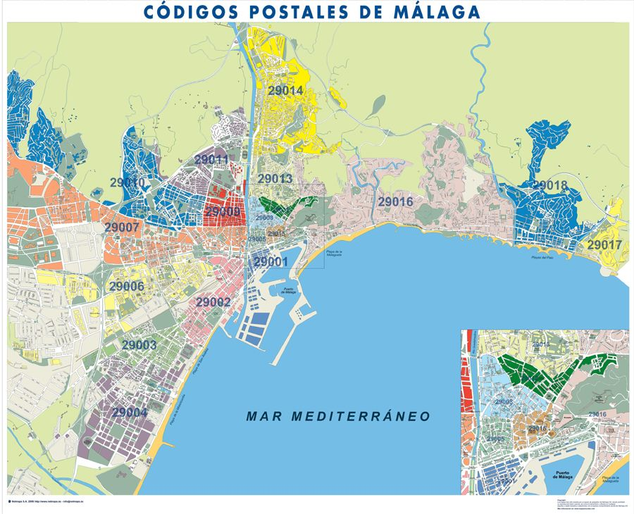 Cdigos postales de Mlaga  Mapas  Pinterest