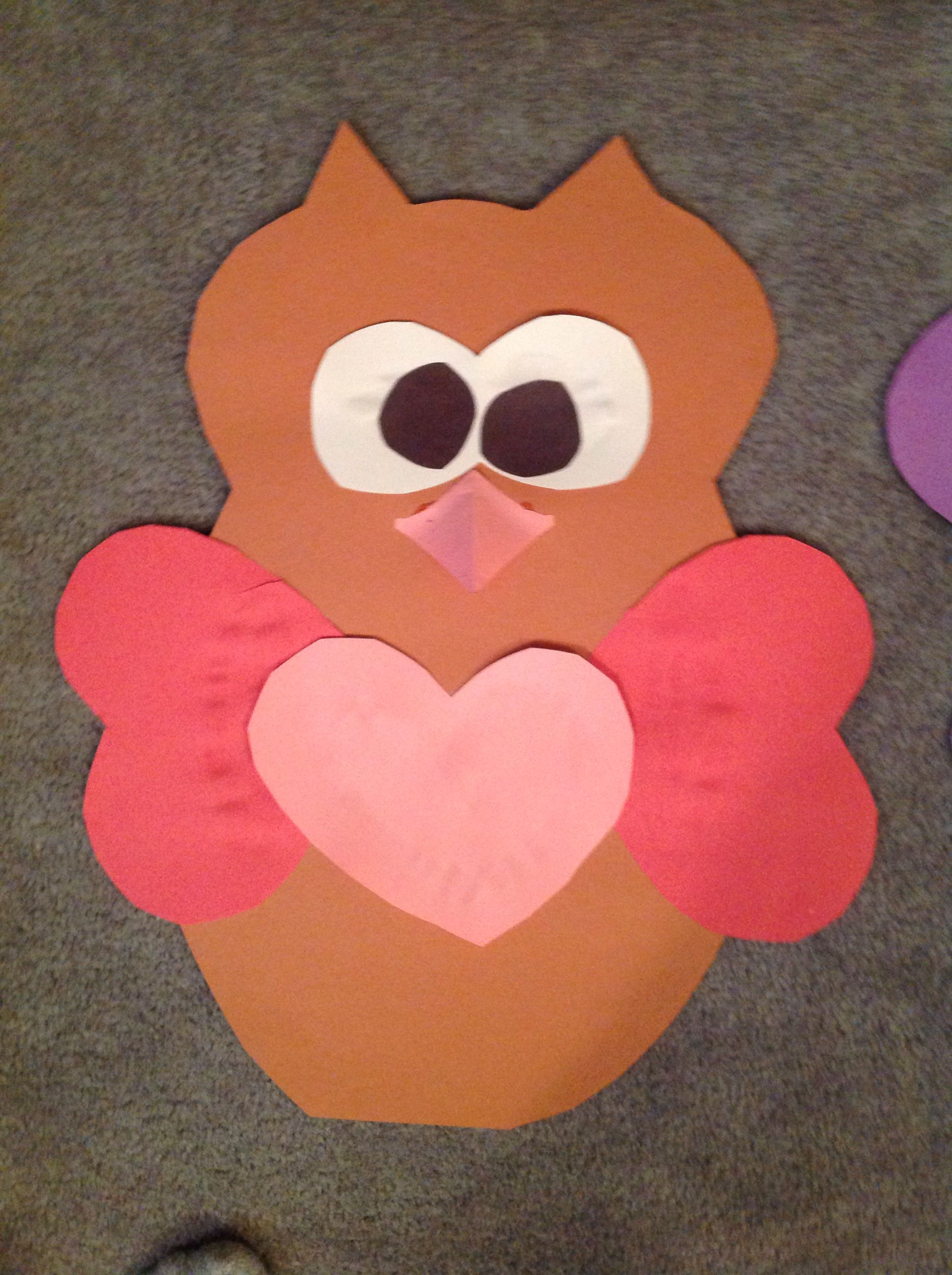 Heart Valentines Day Owl Paper Craft