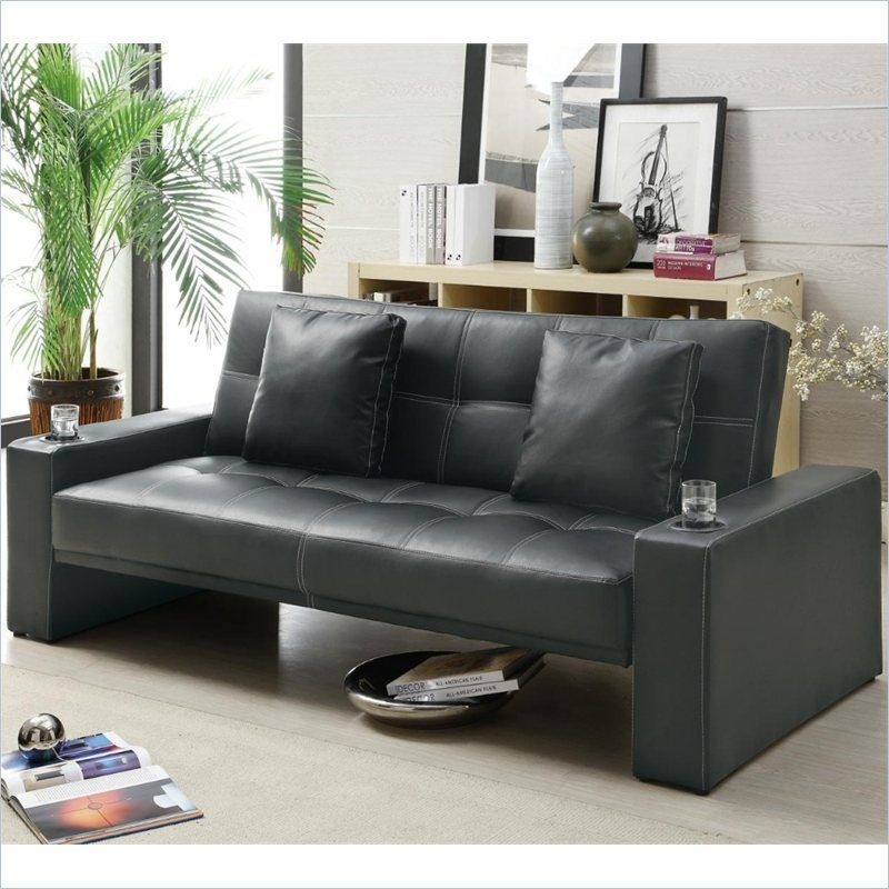 Coaster Faux Leather Sleeper Sofa With Cup Holders In Black With