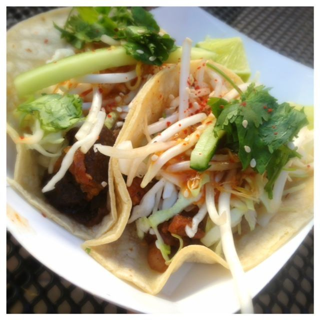 Korean Beef Tacos from Koi Fusion. These tacos will set you back just $2.50 each and they are filling and loaded with flavor.  http://www.frugallivingnw.com/frugal-fun/food-cart-friday-koi-fusion-pdx-bridgeport-village/