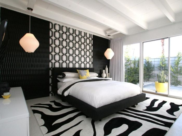 schlafzimmer schwarz weiß muster hängelampen Schlafzimmer Ideen - schlafzimmer schwarz