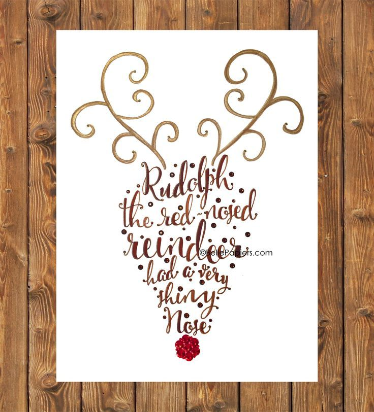 Rudolph the red nosed reindeer calligraphy art holidays