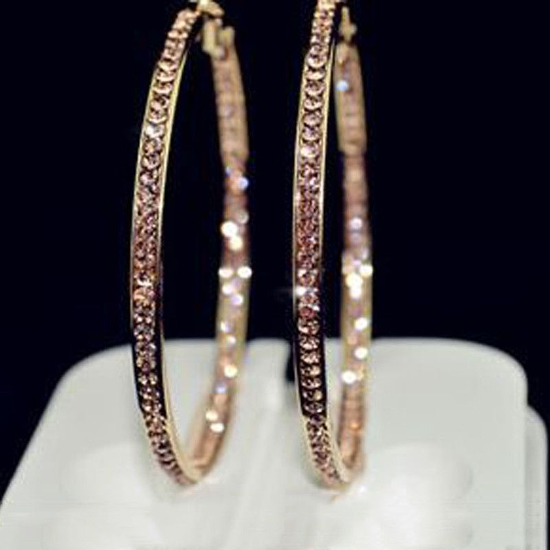 Earrings With rhinestone circle Simple earrings big circle gold plated hoop  earrings for women 7ca238f35956