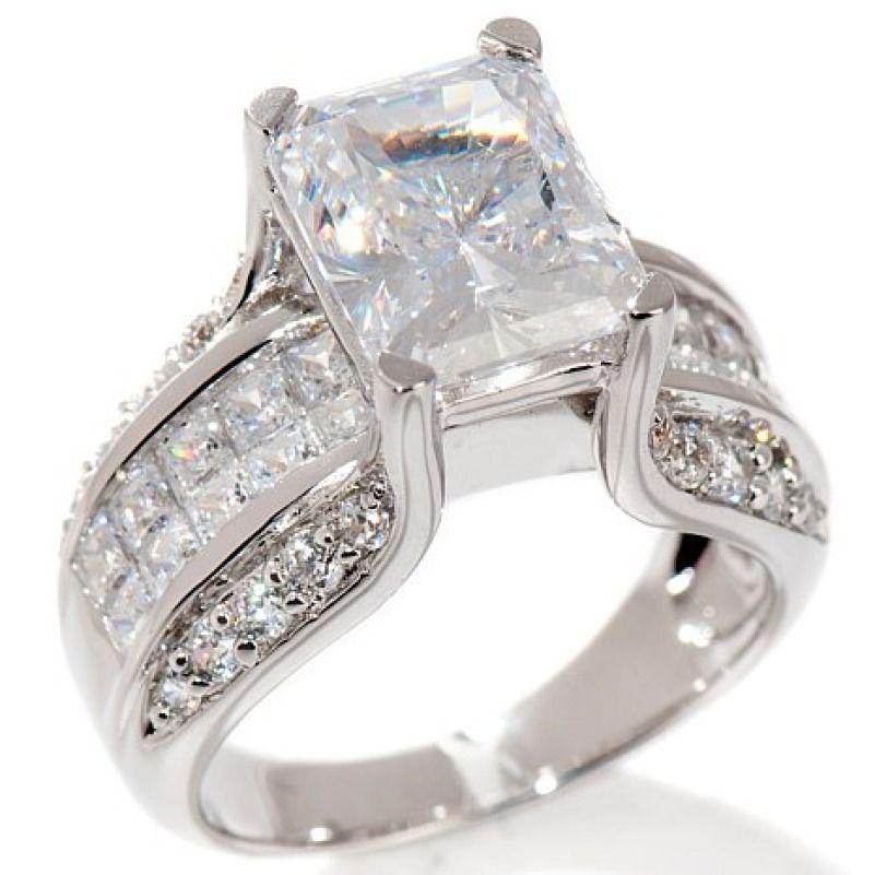 Sterling Silver 5.08 ct D VVS1 Diamond Bridge Engagement Ring Size 7 #Affinityhomeshopping #EngagementRing