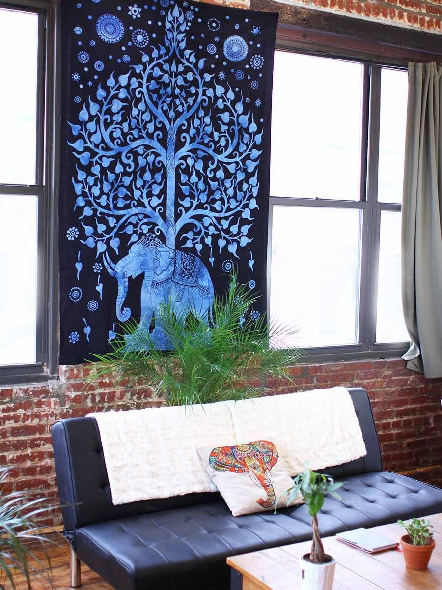 Ya-Ya Black and Blue tapestry. Help save the elephants! Use CAITLINCHIN10 to save 10% off your entire order!  10% of net profits is donated to the African Wildlife Foundation to below prevent elephant poaching!