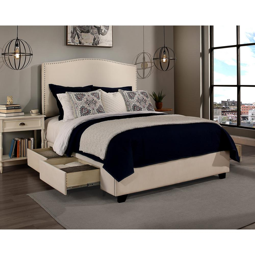 Newport Ivory Eastern King Upholstered Bed 10442B
