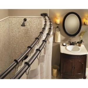 Moen 60 In Stainless Steel Adjustable Double Curved Shower Rod In Chrome Dn2141ch At The Home Depot Mobile Shower Rod Shower Curtain Rods Small Bathtub