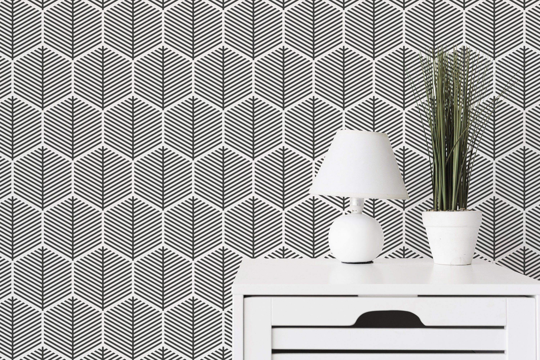 Black And White Honeycomb Wallpaper Scandinavian Style Etsy Geometric Wallpaper Design Honeycomb Wallpaper Geometric Wallpaper