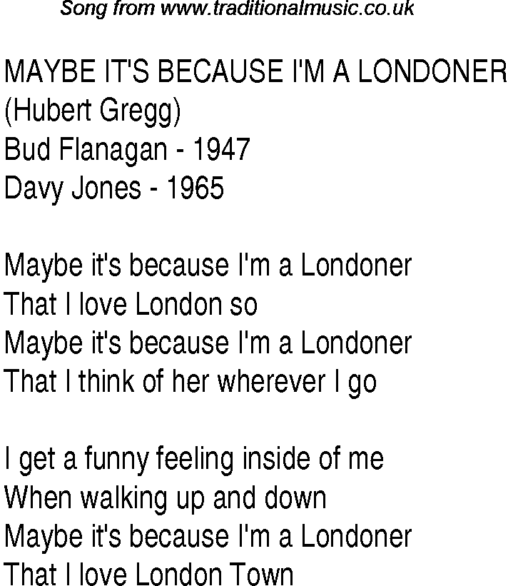 1940s top songs - lyrics for Maybe It's Because I'm A Londoner ...
