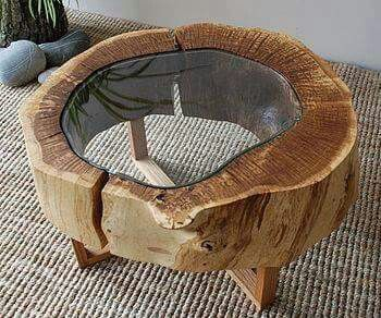 coffee table chop your old tree stump repurpose it as a table