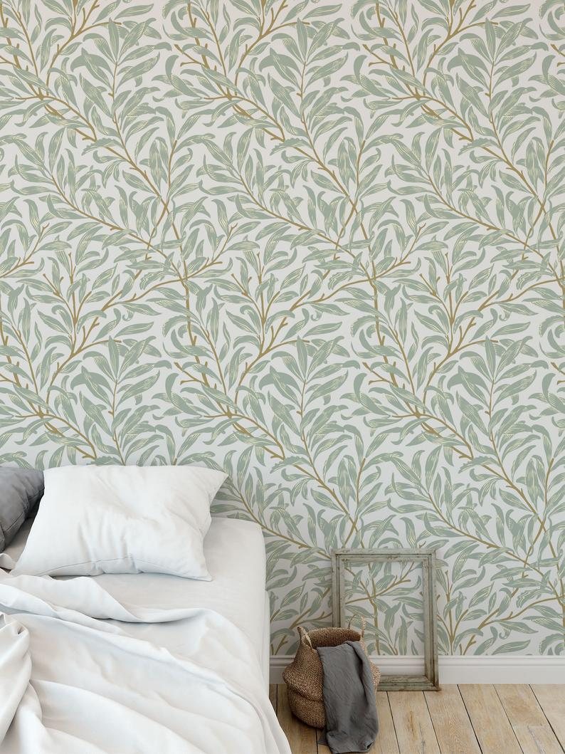Willow Bough Removable Wallpaper Self Adhesive Wallpaper Etsy Feature Wall Wallpaper Best Removable Wallpaper Feature Wall Bedroom