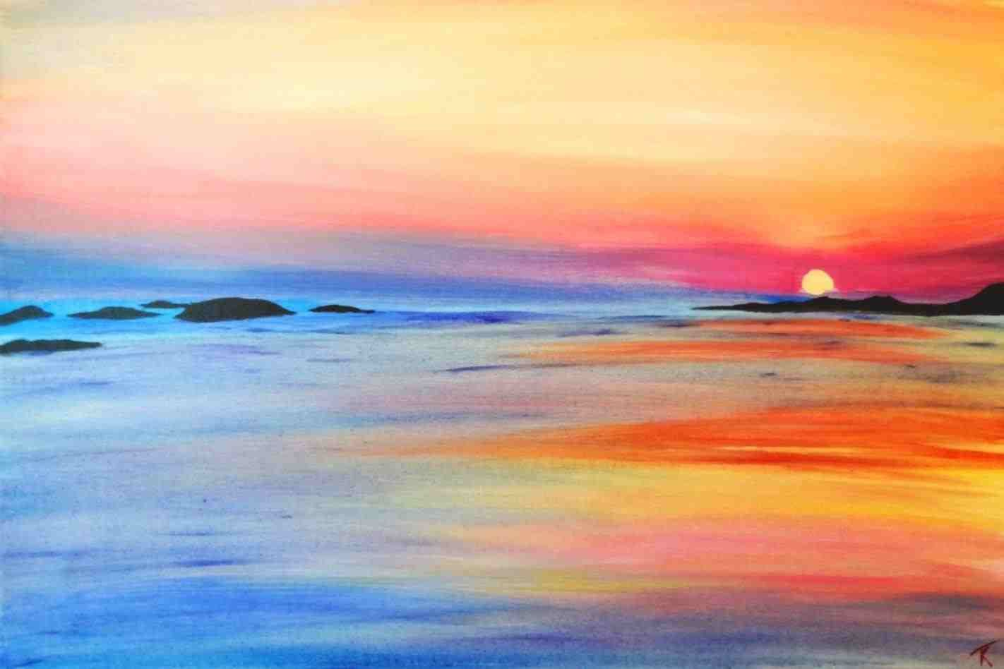 Easy Watercolor Paintings Sunset Painting Ocean Painting Beach Sunset Painting