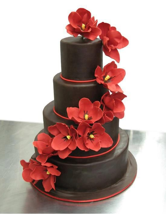 Delicious Chocolate Birthday Cake With Red Flowers