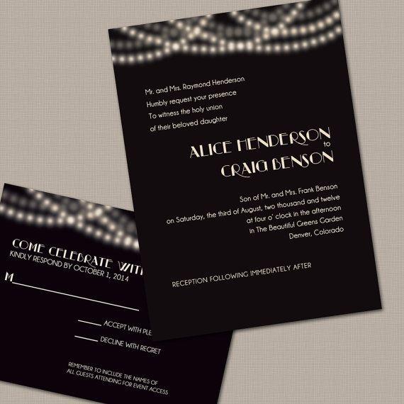 String Lights Wedding Invitation by PrintParlor on Etsy, $15.00