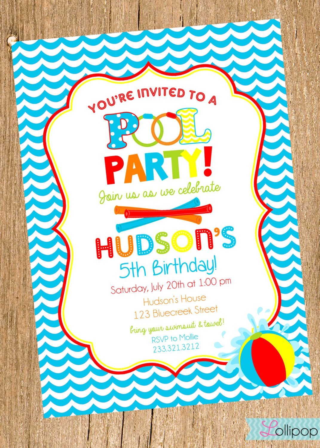 Boy POOL Party Printable Birthday Invitation Boy by LollipopInk ...