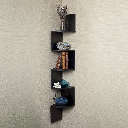 48 5 X 7 7 Zigzag Corner Shelf Walnut Danya B With Images
