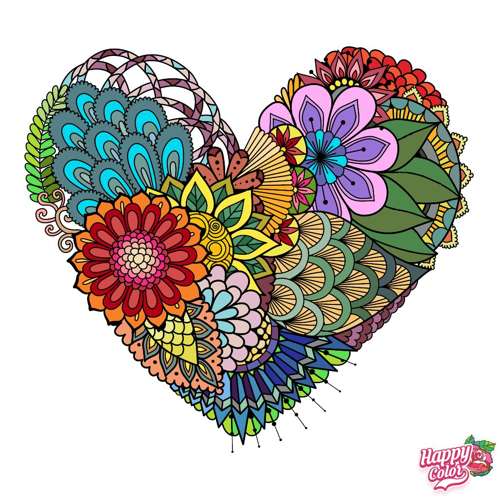 Pin By Vicky Tippin On Coloring Pages Happy Colors Heart Wallpaper Colorful Art