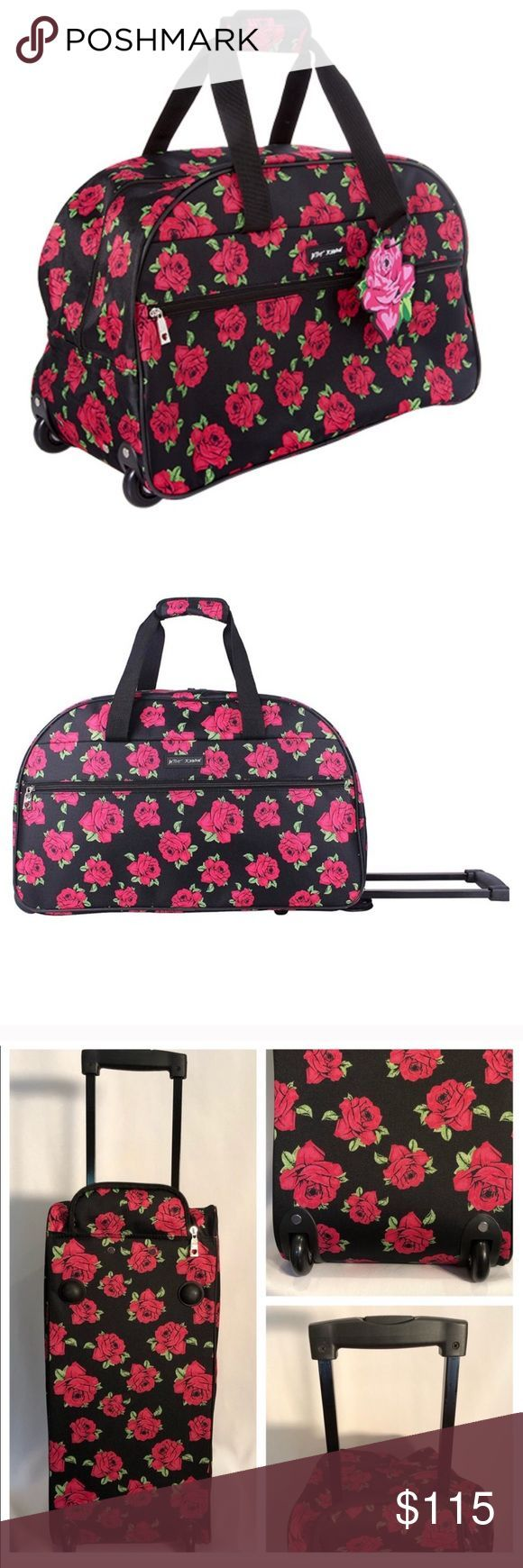NWT Betsey Johnson wheeled Duffle bag Luggage NWT Roses print Lightweight const