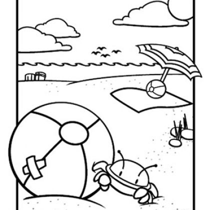 Summer Beach Ball Coloring Page