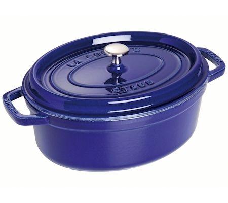 Staub Oval Cocotte, blue cast iron pot