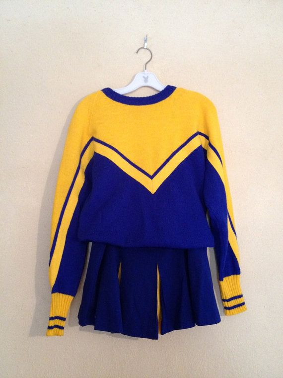 Vintage Cheerleader Uniform Blue gold sweater and skirt