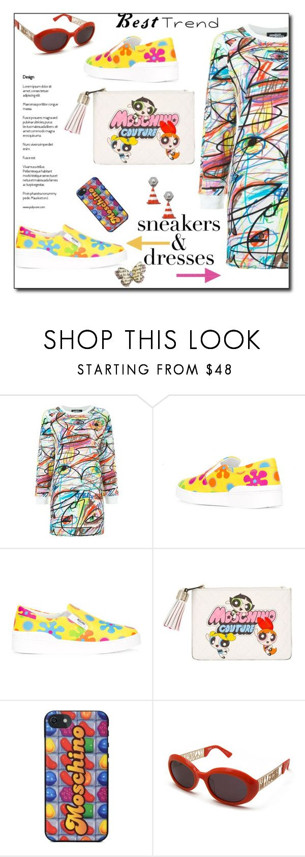 """""""Sporty.Chic: sneakers and dresses"""" by faten-m-h ❤ liked on Polyvore featuring Jeremy Scott, Moschino and SNEAKERSANDDRESSES"""