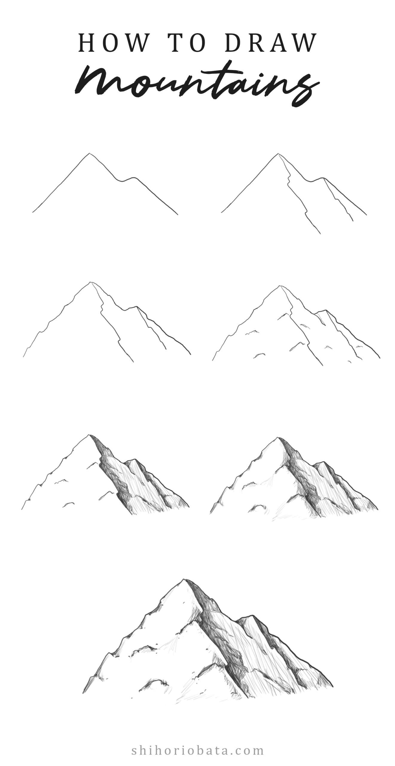 How to Draw Mountains Easy Step by Step Tutorial   Mountain ...