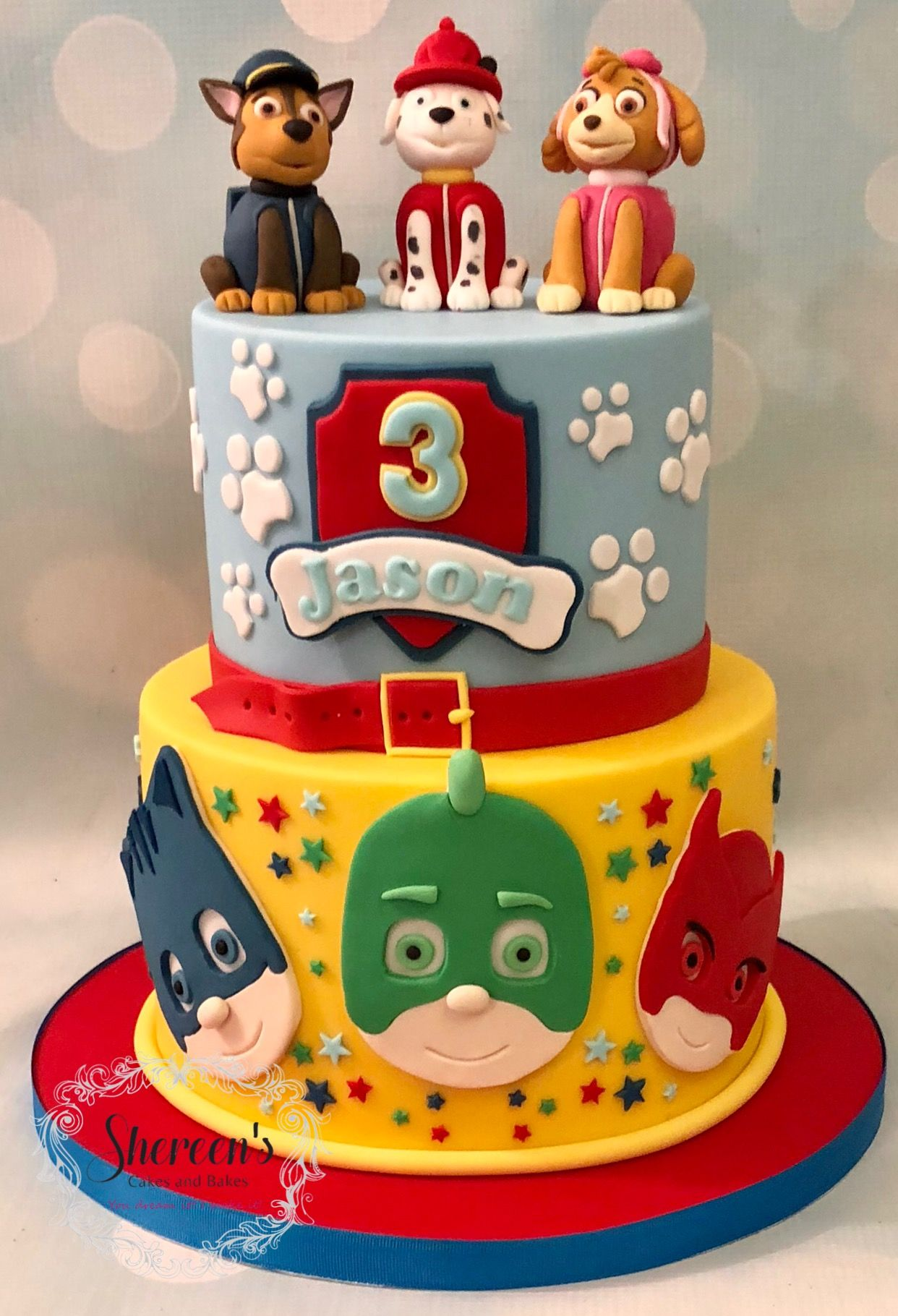 Paw Patrol And Pj Masks Themed Cake Paw Patrol Birthday Cake