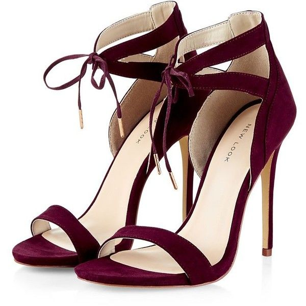 b9af1d78d Burgundy Tie Front Cut Out Heels ( 38) ❤ liked on Polyvore featuring shoes