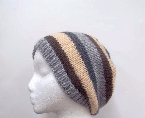 Knitted beanie hat stripes knit hatbeanie beret   by CaboDesigns
