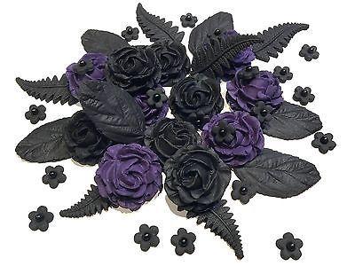 Black  purple #edible #roses bouquet gothic, halloween, #wedding