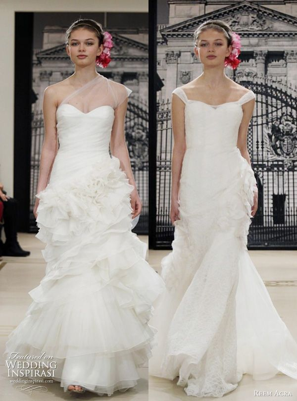 1e37be9be6 Reem Acra Spring 2012 bridal show was a real stand out for us. A-line dress  with pleated bodice and petal appliques and multi-textured strapless  mermaid ...
